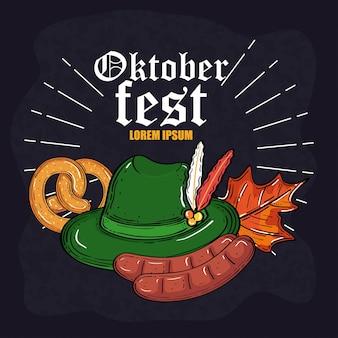 Salsichas de pretzel e design de folhas, festival oktoberfest da alemanha e tema de celebração