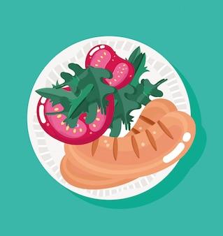 Salsichas frescas com tomates e ervas