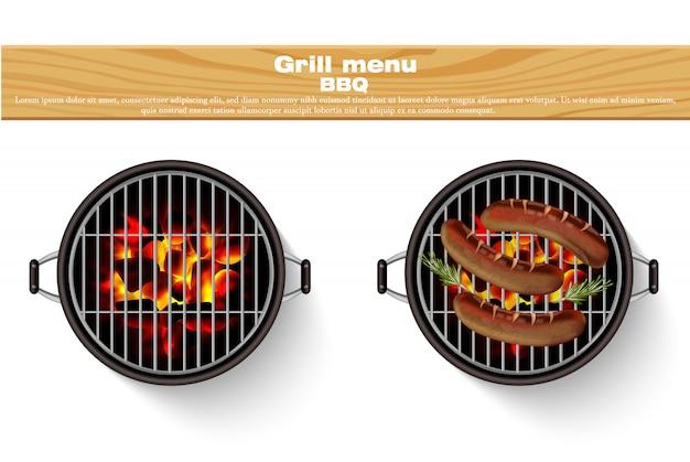 Salsichas grelhadas de churrasco quente realista