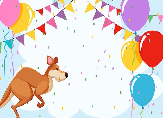Saltando cartão de festa de canguru