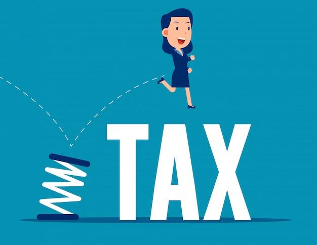 Saltando da primavera. conceito de imposto de negócios. estilo de negócios plana