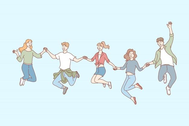 Saltando pessoas, amizade, lazer definir conceito