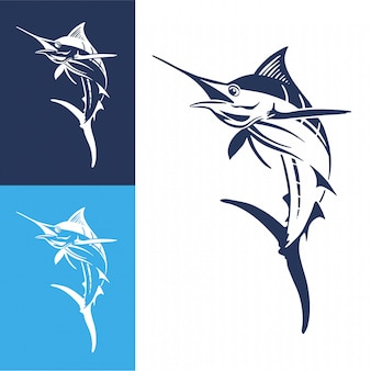 Salto de peixe mão desenhada marlin