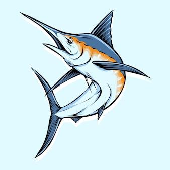 Salto de peixe marlin azul