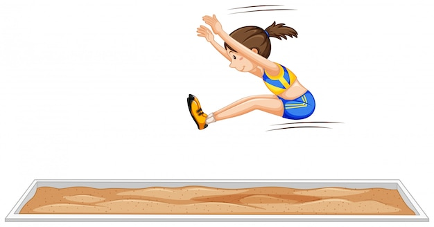 Salto longo, menina, pular, em, evento esporte