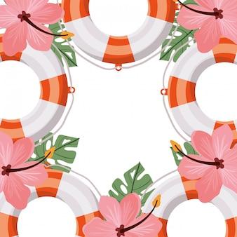 Salva-vidas com flor verão em fundo branco