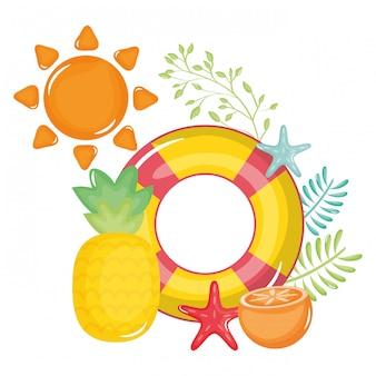Salva-vidas flutuar com sol verão