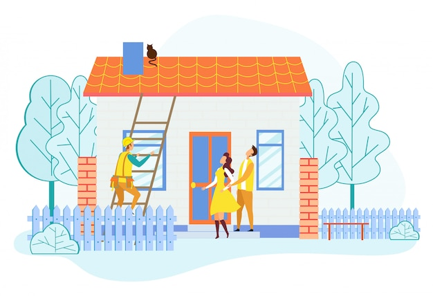Salvador, escalando, escada, telhado casa, salvar, gato