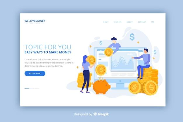 Salvando a página de destino do dinheiro