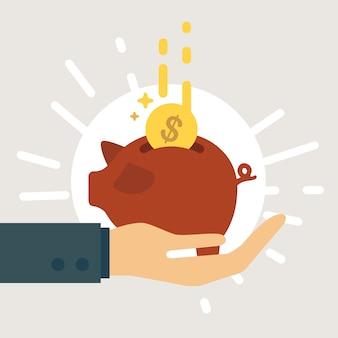 Salvando o dinheiro no cofrinho