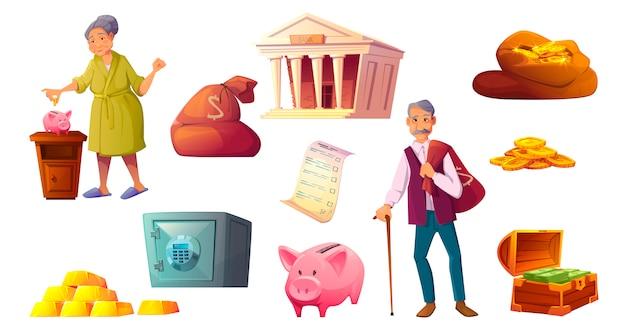 Salvando o ícone dos desenhos animados de dinheiro, cofre de cofrinho