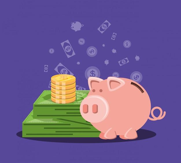 Salvando o porquinho com dinheiro e notas de dólar