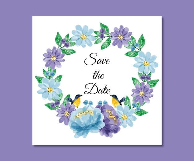 Salvar a data aquarela flores roxas azuis
