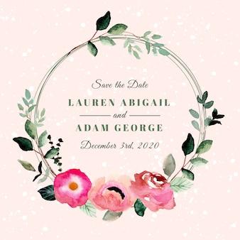 Salvar a data com aquarela linda grinalda floral