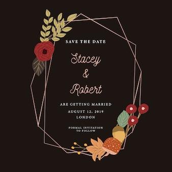 Salvar a data com moldura floral e geométrica de outono
