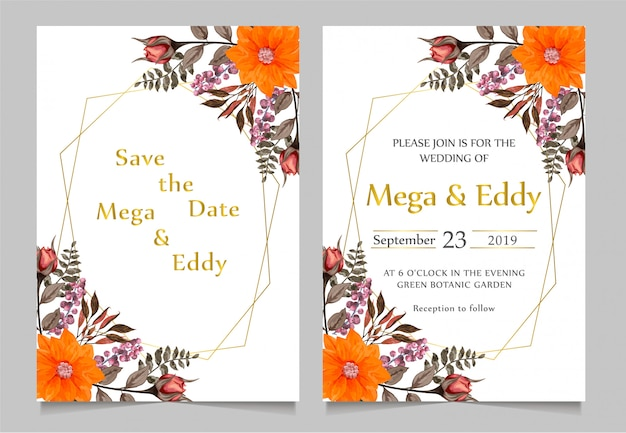 Salvar a data e o convite do casamento do ouro