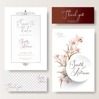 Salvar a data textura do padrão de orquídeas rosa do cartão de casamento