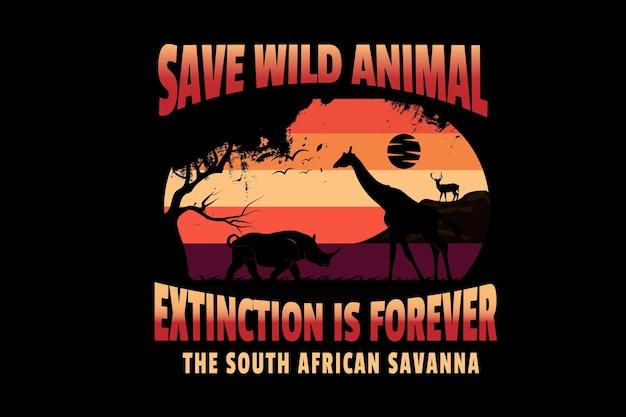 Salvar a extinção de animais selvagens é para sempre a savana da áfrica do sul