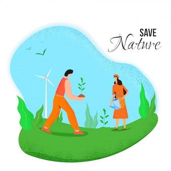 Salvar a natureza. ilustração de jardinagem homem e mulher trabalhando no campo da natureza