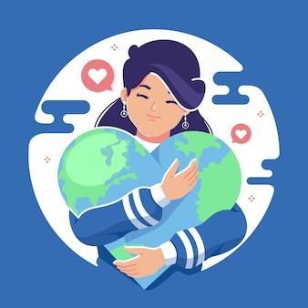 Salvar a terra conceito design plano ilustração