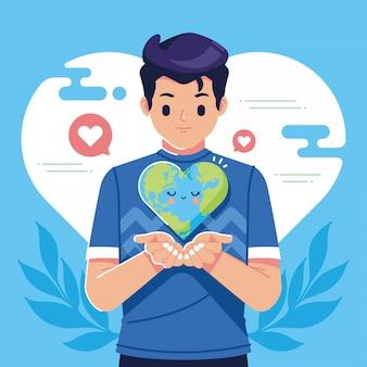 Salvar a terra segurando o conceito de terra de amor