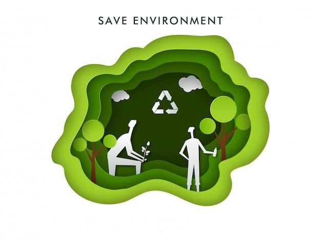 Salvar ambiente. papel cortado camada natureza fundo com silhueta de homens