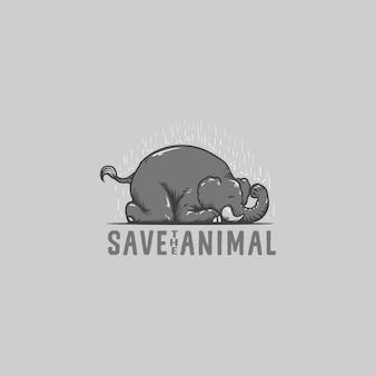 Salvar, elefante, animal, logotipo, ilustração