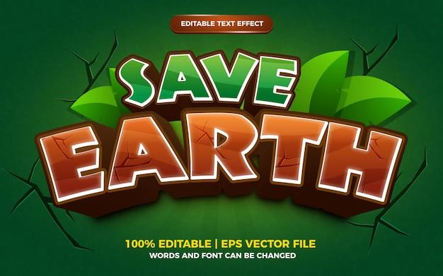 Salvar estilo de jogo de quadrinhos de desenho animado com efeito de texto editável da terra
