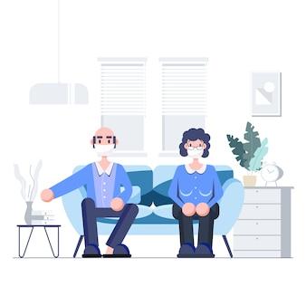 Salvar idosos ficar em casa conceito de quarentena. distanciamento social, surto de coronavírus. pessoas idosas usando máscaras