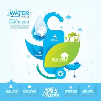 Salvar modelo de banner de fundo de vetor de água
