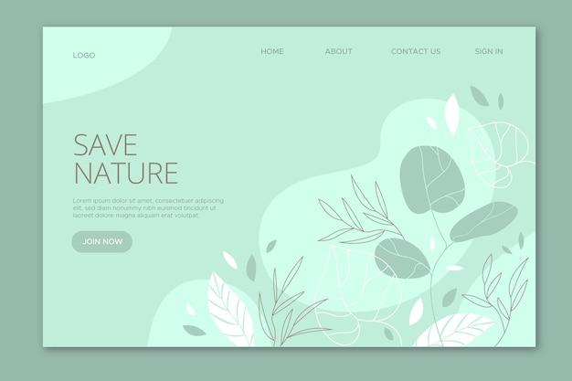 Salvar natureza página de destino desenhada à mão