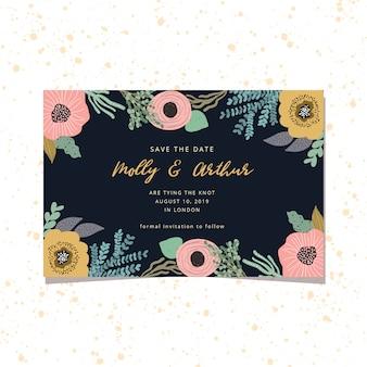 Salvar o cartão de data com moldura floral fofa e fundo escuro