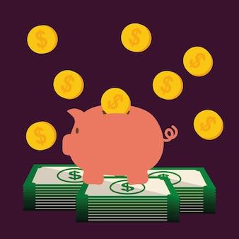 Salvar o conceito de dinheiro com design de ícone