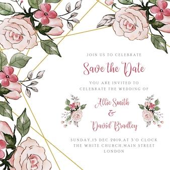 Salvar o convite floral do casamento da data