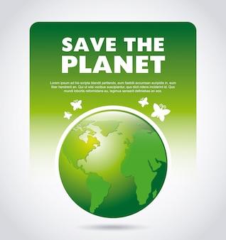 Salvar o desenho do planeta sobre ilustração vetorial de fundo cinza