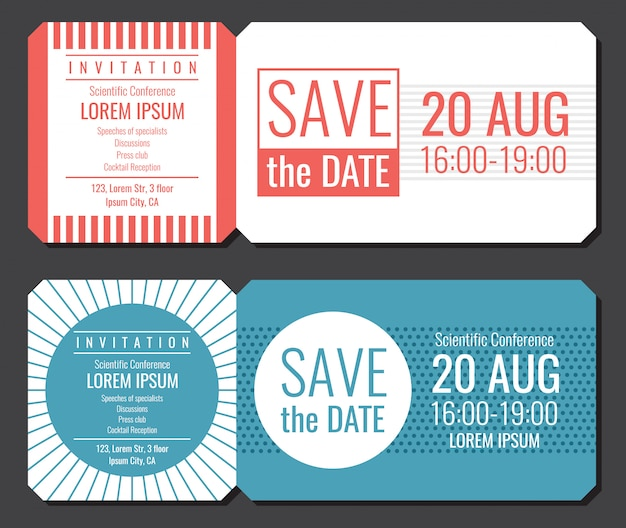 Salvar o design minimalista do vetor do bilhete do convite da data. ilustração de cartão de saudação e convite