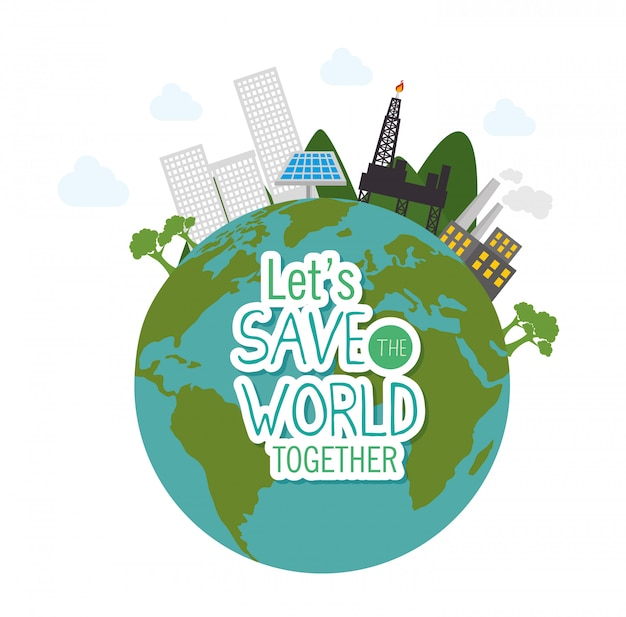Salvar o design mundial em estilo simples
