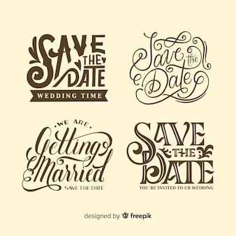 Salvar o design vintage de data para a coleção de letras