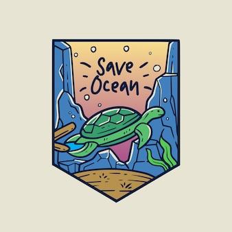 Salvar o emblema de ocean monoline