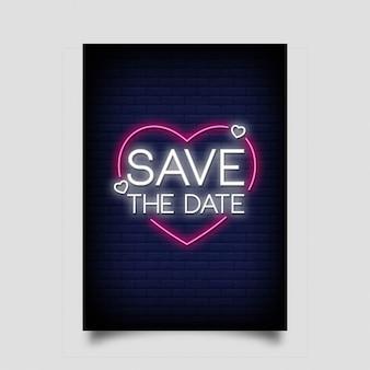 Salvar o estilo de sinal de néon de data