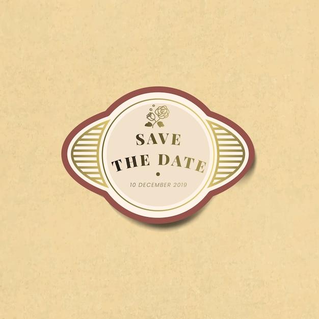 Salvar o vetor de rótulo de etiqueta vintage de convite de casamento de data