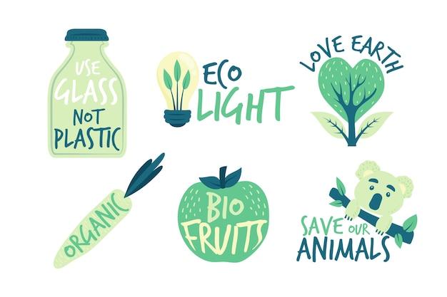 Salvar os emblemas de ecologia de terra mão desenhada