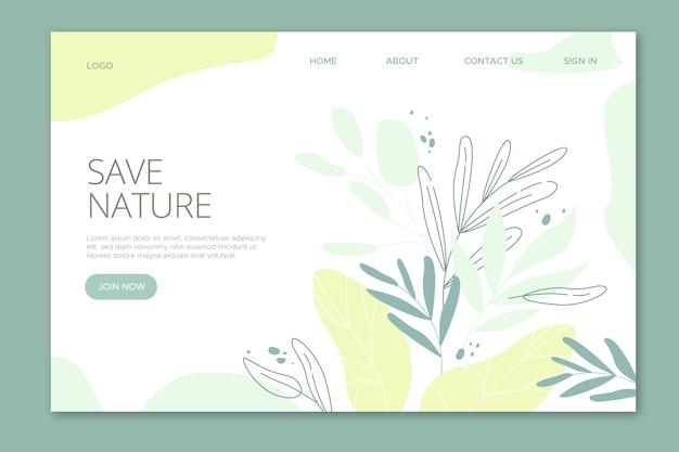 Salvar página de destino das folhas da natureza