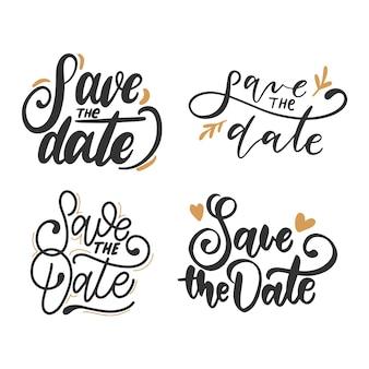 Salve a coleção de caligrafia de data