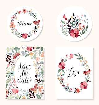 Salve a coleção de data com elementos de design de mão desenhada, convite de casamento