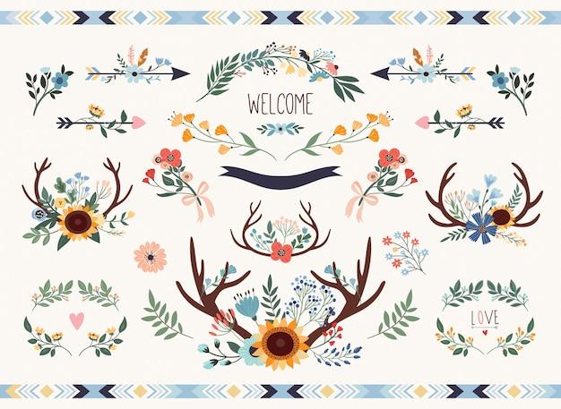 Salve a coleção floral de data. conjunto de elementos de casamento rústico com girassol e chifres.