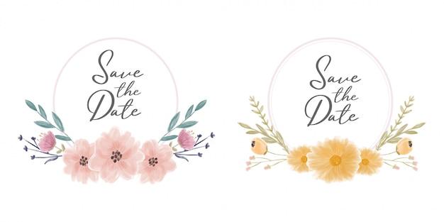 Salve a coroa de moldura de data com flores em aquarela