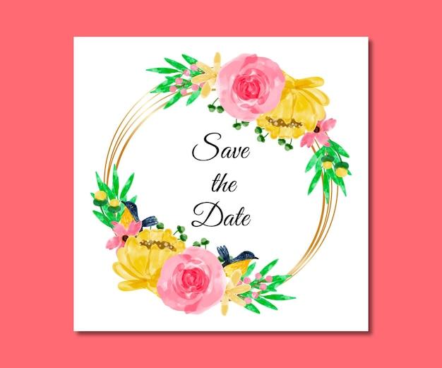 Salve a data aquarela flores rosa amarelas