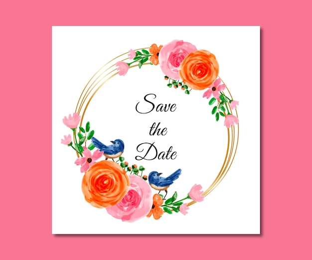 Salve a data aquarela flores rosa azul