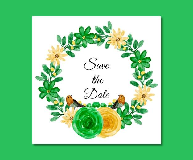 Salve a data aquarela verde flores amarelas